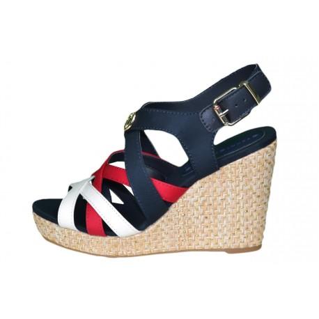 Sandales compensées Tommy Hilfiger bleu marine rouge et blanc Elena iconic pour femme
