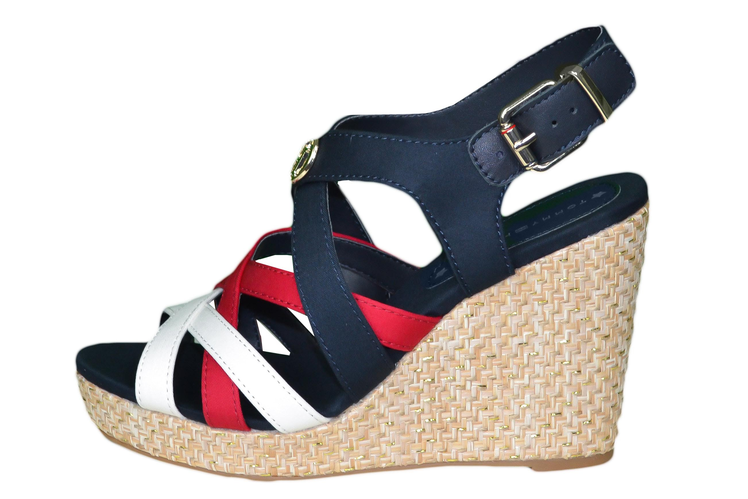 Sandales compensées Tommy Hilfiger bleu marine rouge et blanc Elena