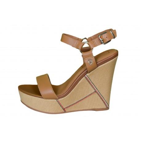 Sandales compensées Tommy Hilfiger marron cognac pour femme