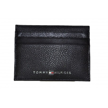 Porte-cartes Tommy Hilfiger noir en cuir texturé pour homme