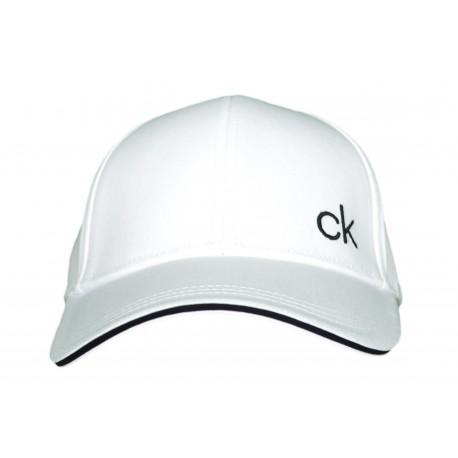 Casquette Calvin Klein blanche monogramme CK contrasté pour homme
