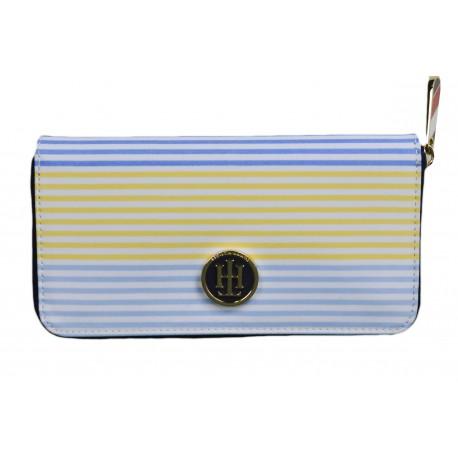 Porte-monnaie zippé Tommy Hilfiger rayé multicolore pour femme