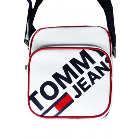 Sacoche Tommy Jeans blanche et rouge à gros logo pour homme