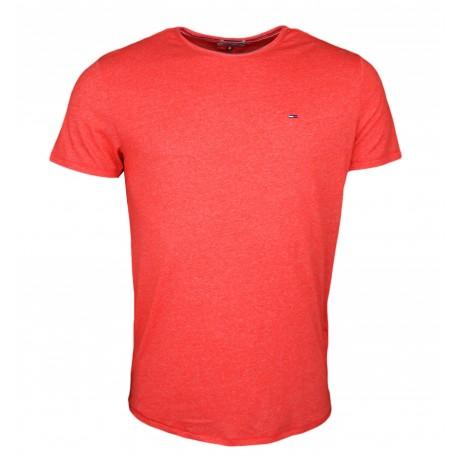 T-shirt col rond Tommy Jeans rouge mouliné slim fit pour homme