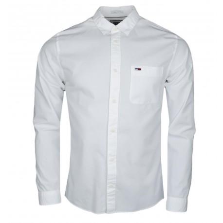 Chemise Tommy Jeans blanche basique régular fit pour homme