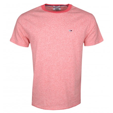 T-shirt col rond Tommy Jeans rouge chiné régular fit pour homme