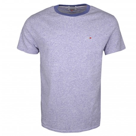 T-shirt col rond Tommy Jeans bleu chiné régular fit pour homme