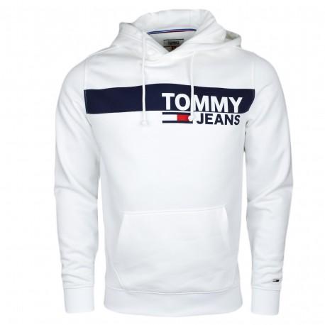 Sweat à capuche Tommy Jeans blanc pour homme