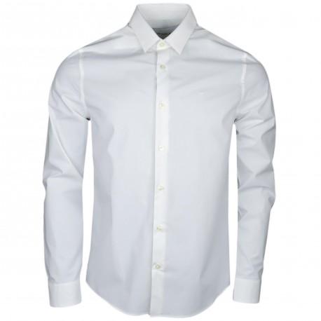 Chemise Calvin Klein blanche slim fit en popeline pour homme