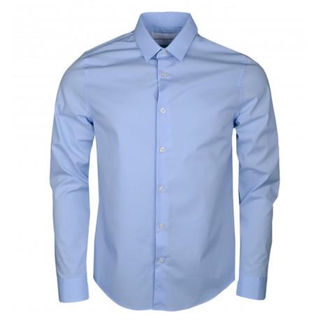 Chemise Calvin Klein bleue logo ton sur ton slim fit pour homme
