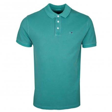 Polo Tommy Jeans vert teinté régular fit pour homme