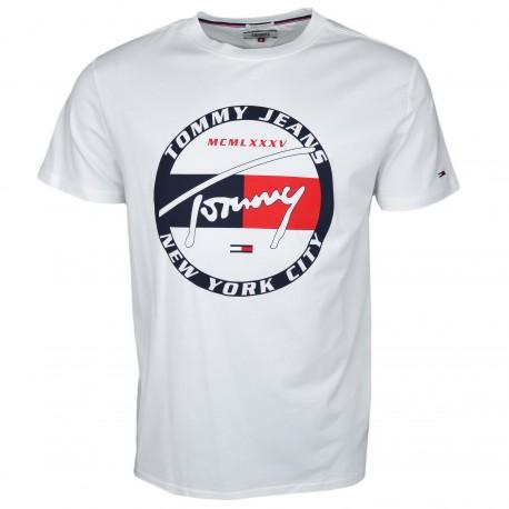 T-shirt col rond Tommy Jeans blanc logo cercle régular fit pour homme