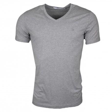 T-shirt col V Calvin Klein gris basique slim fit pour homme