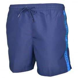 Short de bain Calvin Klein bleu marine bande bleu sur le côté pour homme