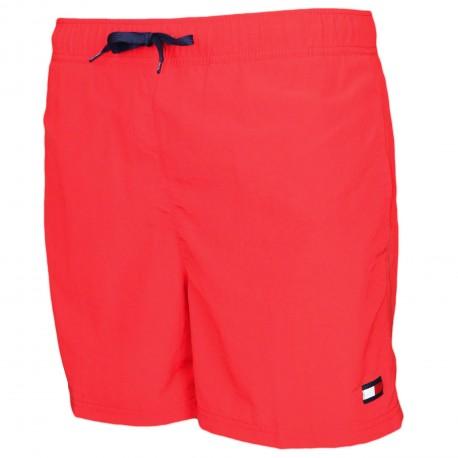 Short de bain Tommy Hilfiger rouge cordon contrasté marine pour homme