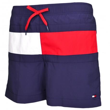 Short de bain Tommy Hilfiger bleu marine bande drapeau pour homme