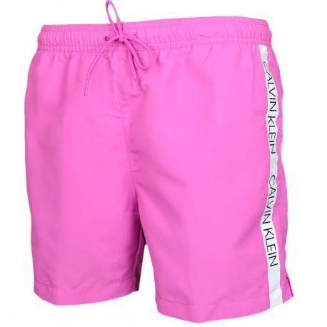 Short de bain Calvin Klein rose bande logo côté pour homme