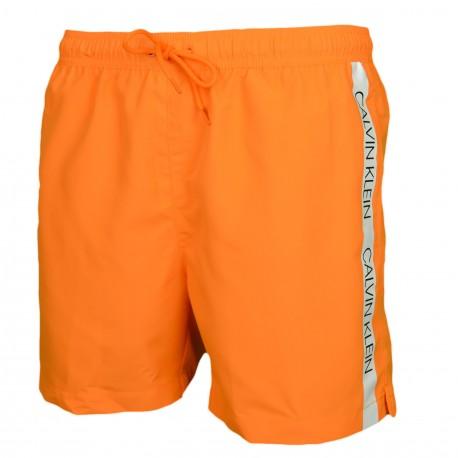 Short de bain Calvin Klein orange bande logo côté pour homme
