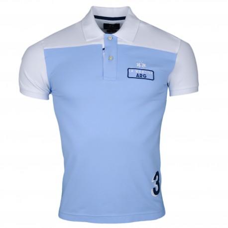 70cf69b0747 Polo La Martina bleu ciel et blanc Argentine en piqué slim fit pour homme