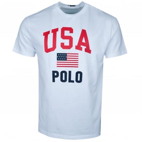 T-shirt col rond Ralph Lauren blanc USA POLO pour homme