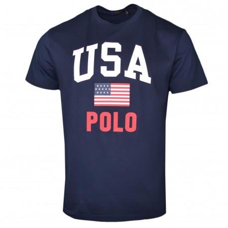 T-shirt col rond Ralph Lauren bleu marine USA POLO pour homme