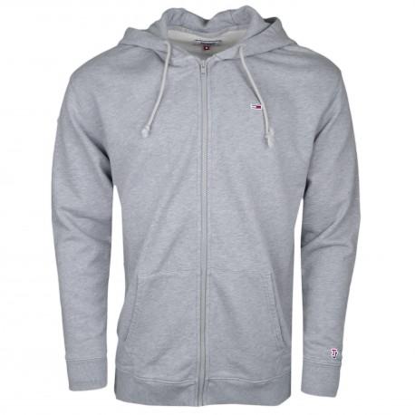 Veste sweat zippée Tommy Jeans grise à capuche pour homme