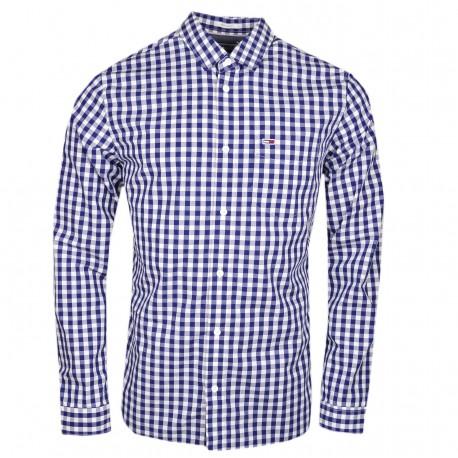 Chemise à carreaux Tommy Jeans bleu marine et blanche régular fit pour homme