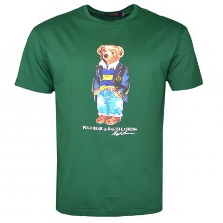 T-shirt col rond Ralph Lauren vert Teddy Bear pour homme