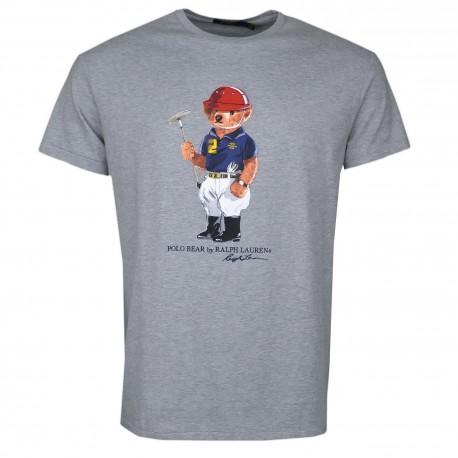 T-shirt col rond Ralph Lauren gris Teddy Bear pour homme