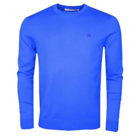 Pull col rond Calvin Klein bleu royal en maille coton pour homme