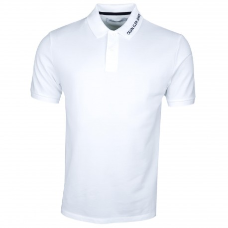 Polo Calvin Klein blanc inscription col régular fit pour homme