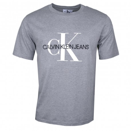 T-shirt col rond Calvin Klein gris gros logo blanc pour homme