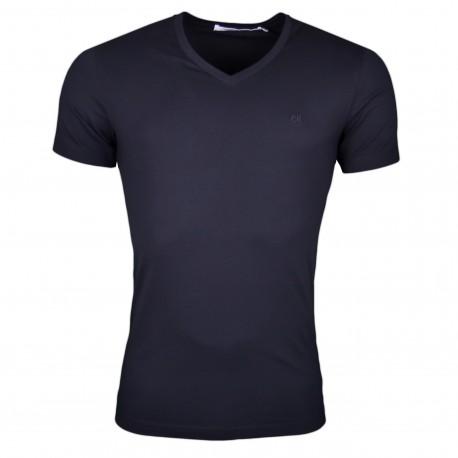 T-shirt col V Calvin Klein noir basique slim fit pour homme
