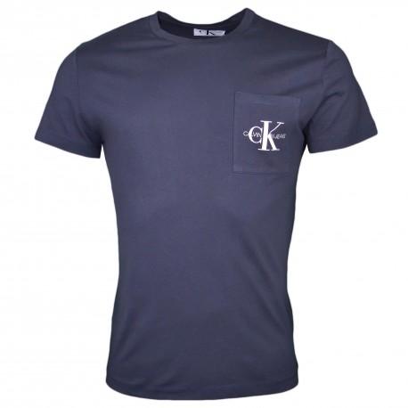 T-shirt col rond Calvin Klein bleu marine logo poche slim fit pour homme