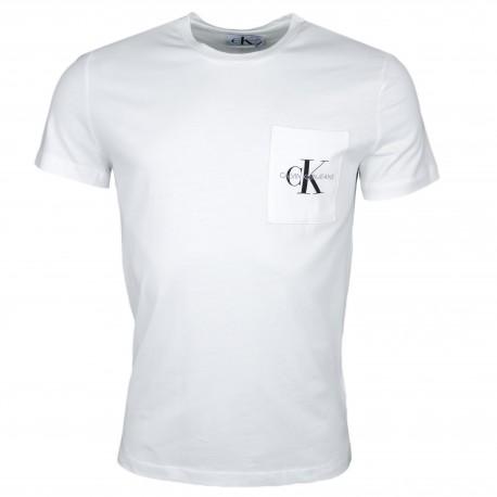 T-shirt col rond Calvin Klein blanc logo poche pour homme