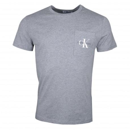 T-shirt col rond Calvin Klein gris logo poche pour homme