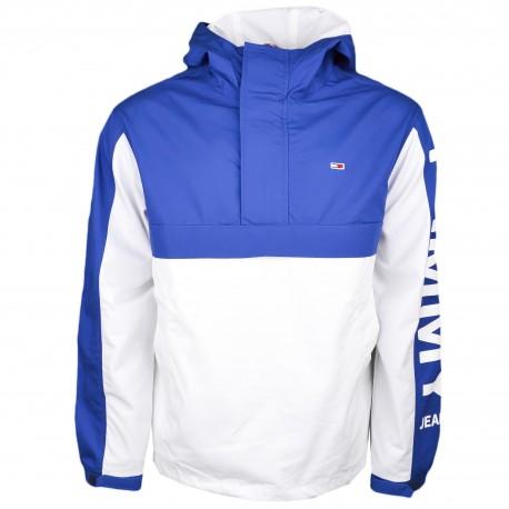 Veste enfilable Tommy Jeans bleu et blanche à capuche pour homme