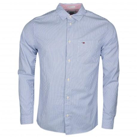 Chemise rayée Tommy Jeans bleu et blanche régular fit pour hommé