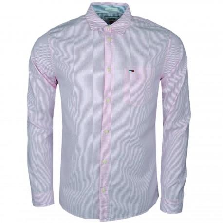 Chemise rayée Tommy Jeans rose et blanche régular fit pour homme