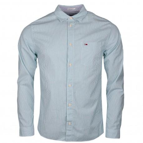 Chemise rayée Tommy Jeans verte et blanche régular fit pour homme