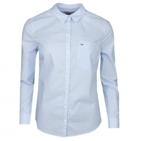 Chemise rayée Tommy Jeans bleu ciel et blanc régular fit pour femme