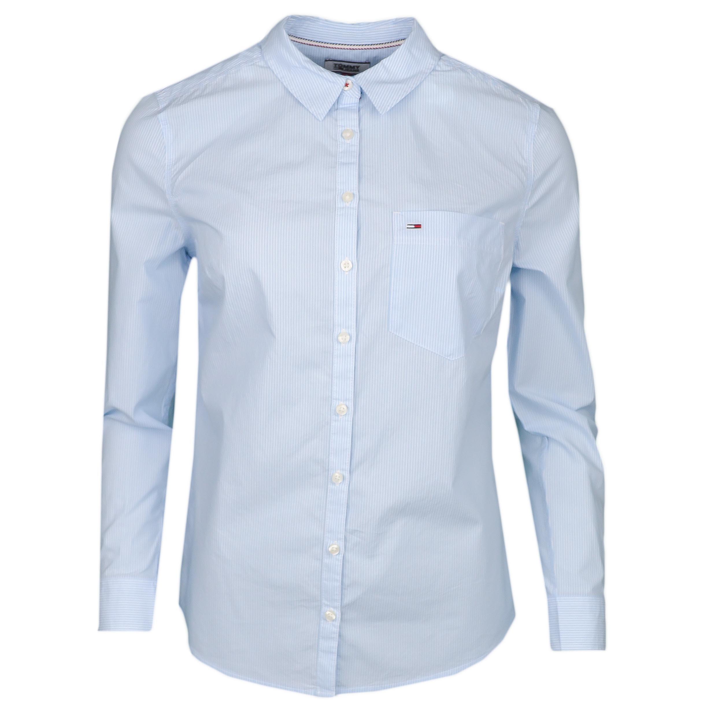 acheter pas cher 262d9 6d1f2 Chemise rayée Tommy Jeans bleu ciel et blanc régular fit pour femme...