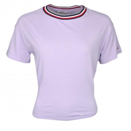T-shirt col rond Tommy Jeans violet mouliné noué dans le dos pour femme