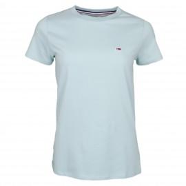 T-shirt col rond Tommy Jeans vert d'eau pour femme