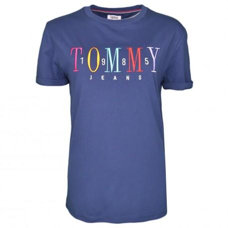 T-shirt vintage Tommy Jeans bleu marine à logo 1985 coloré pour femme