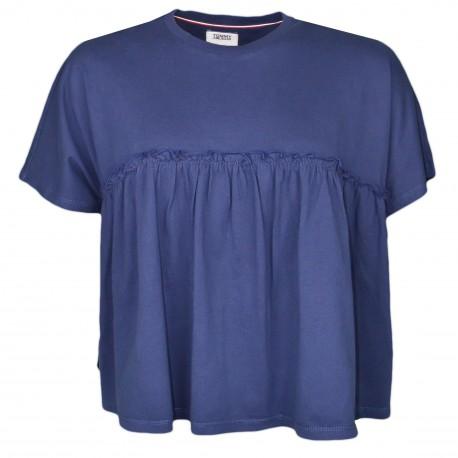 T-shirt ample Tommy Jeans bleu marine court à détails ruchés pour femme