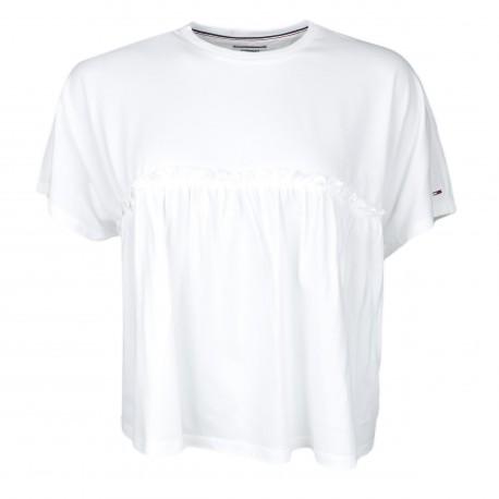 T-shirt ample Tommy Jeans blanc court à détails ruchés pour femme