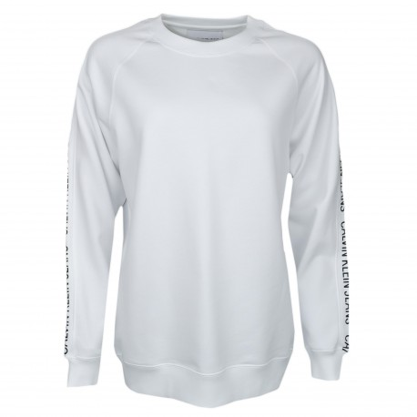 Sweat Calvin Klein blanc logo manches pour femme