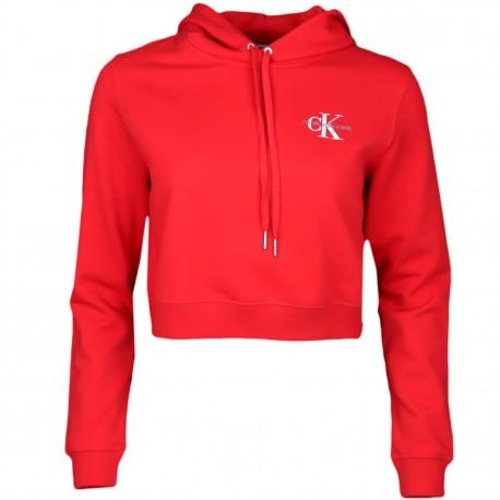 Sweat court Calvin Klein rouge à capuche pour femme