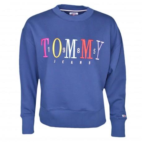 Sweat col rond Tommy Jeans bleu marine à logo coloré en molleton pour femme